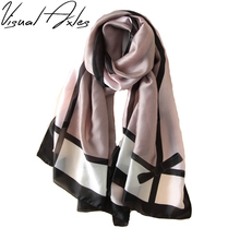 [Visual Axles] Luxury Brand Plaid Silk Scarf Women Digital Print Female Soft Foulard Designer Silk Plaid Wrap Shawl Scarves 2017(China)