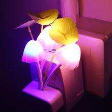 Novelty US & EU Plug Night Light Induction Dream Mushroom Fungus LED Lamp 3 LEDs Mushroom Lamp led night lights Luminaria(China)