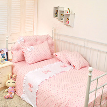 Polka dot princess bow bedding ,single bed child bedding set,blue pink ,twin queen king