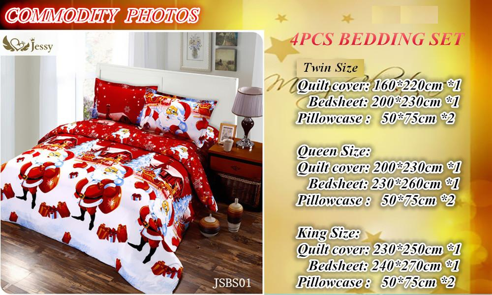 2016 Christmas Merry kids duvet comforter cover twin queen king size 4pc Santa Claus Deer bed set bed linen bedclothes Bedding Set (2)