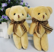 wholesale 12CM plush stuffed mini brown teddy bear bouquet doll phone pendant wedding gift(China)
