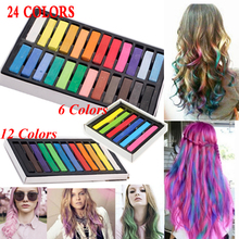 Hot 24 Colors Fashion Hair Crayons Chalk Non-toxic Soft Pastel Kit Temporary Dye Color Hair Chalk For DIY Beauty Hair Style(China)