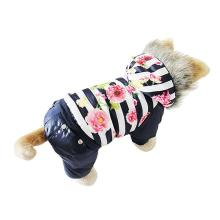 Clothes For Dog Warm Winter Coat Dogs Clothes Floral Print For Pet Costume Jacket Puppy Jumpsuit Hoody Good For Perro Coffee