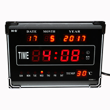 Hourly Chime LED Digital Wall Clock with Calendar Week Date Temperature Desktop Electric Alarm Clock Home Decoration Red(China)