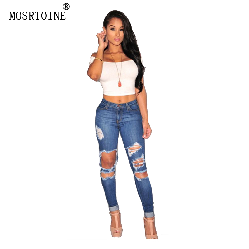 MOSRTOINE Women Hole Jeans 2017 Spring Summer Casual Washed Ripped Hollow Out Sexy With Zippers And Button Fashion Jeans NewОдежда и ак�е��уары<br><br><br>Aliexpress