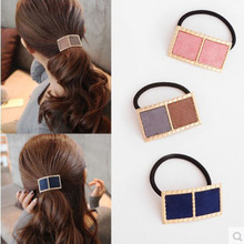 Women Hair Accessories Fashion Alloy Blocks Shape Hair Rope for Girls Elastic Rubber Band for Women Retro Headwear Hair Circle(China)