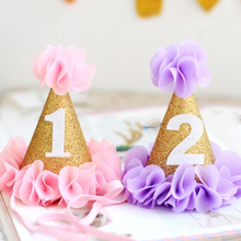 Girl's Flower Garden Shabby Chic Birthday Hat Pink Lavender Gold flower party hat headband 1st 2nd 3rd Newborn Glitter party cap(China)
