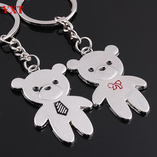 2PCS Double Lovely Teddy Bear Metal Couples Lover New Charm Pendant Key Ring Chain Keyfob Personality Favorite Collection(China)