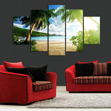 New 5 pieces/sets canvas art New Wall Art Beach Palm Tree Group Painting Decoration for Home Print Poster Canvas Painting\J0228