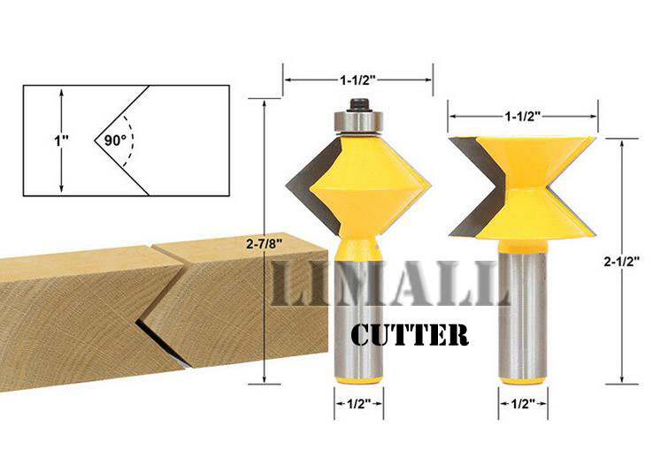 1/2- SHK handle woodworking cutter 90 degree tenon knife board splicing splice knife knife woodworking cutter router cutter<br>