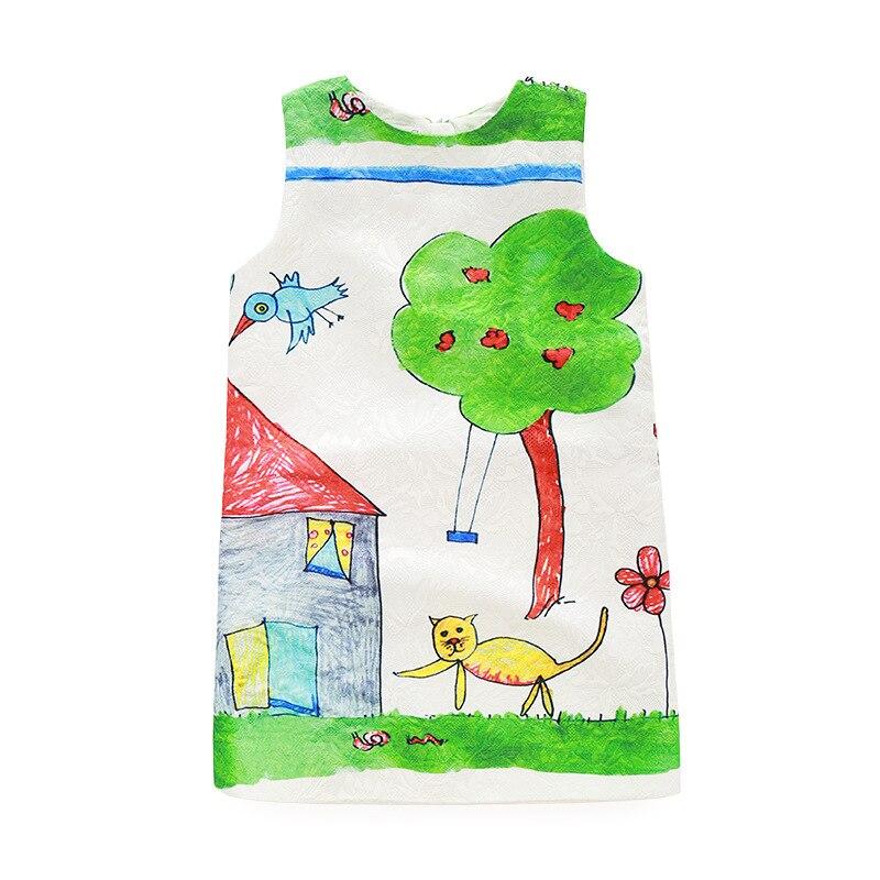 2017 kimocat fashion designer Girl cartoon graffiti print vest Princess Dress china-imported-clothes free shipping<br><br>Aliexpress
