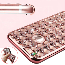 Luxury Bling Diamond Electroplating soft TPU Mobile Phone Cases For iPhone 5 5S SE 6 6S Plus iPhone Protector Capa YC1361