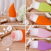 40ml Flame Shape Silicone Squeeze Gel Portable Travel Bottle Empty Jar/Press Tube/Container Liquid Cosmetic Refillable Container(China)