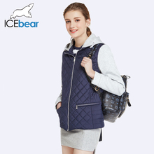 ICEbear 2017 Two Way Zipper Design Spring Jacket Women Short Slim Cotton Padded Hat Detachable Warm Coat Parka 17G209D