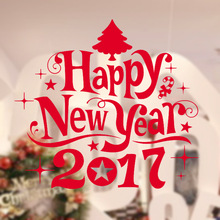 DIY Decoration Happy New Year 2017 Tree Bell Wall Art Sticker Christmas Home Decor Vinyl Mural Glass Window Store Decal M-198(China)