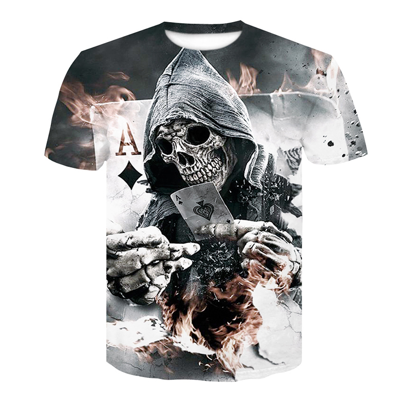 2018 New Mens Summer Skull Poker Print Men Short Sleeve T-shirt 3D T Shirt Casual Breathable T-shirt Plus-size T-shirt(China)