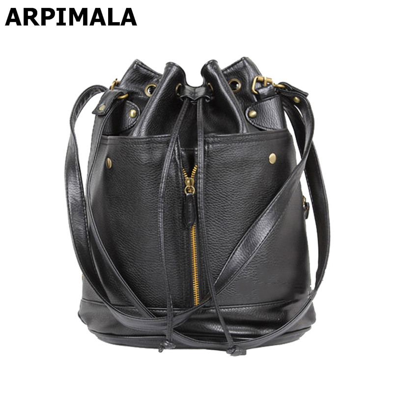 2017 Classic leather big bucket bags vintage drawstring women female messenger bags korean style stud handbags<br><br>Aliexpress