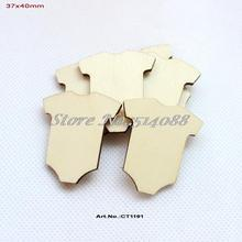 (100pcs/lot) Blank Natural Wooden Little Suit Baby Shower Favor Ornaments Bulk 40MM-CT1191(China)