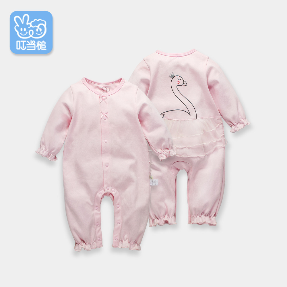 Dinstry 2018 spring and autumn Newborn baby girl Princess Swan Cotton Romper<br>