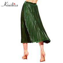Kinikiss Vintage Pleated Woman Skirts Autumn Winter 2017 Female Sexy Clothing Office High Street Stylish Green Long Skirt(China)