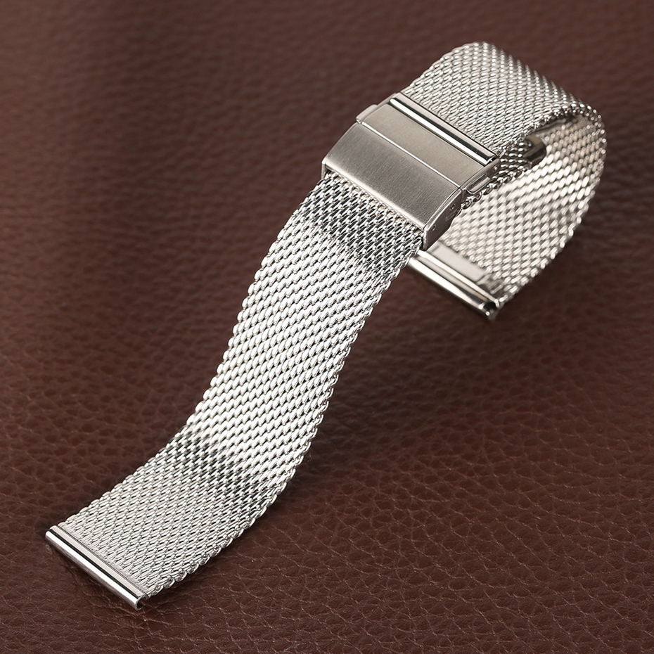 Mesh Milanese Bracelet Clasp Watchbands High Quality 18mm 20mm 22mm Silver Black Wrist Watch Band Strap for Clock Replacement 2018 (32)