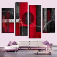 4 Pcs/Set Modern Abstract  Painting Prints on Canvas Line Graph Circles Black Red Wall pictures for Living Room