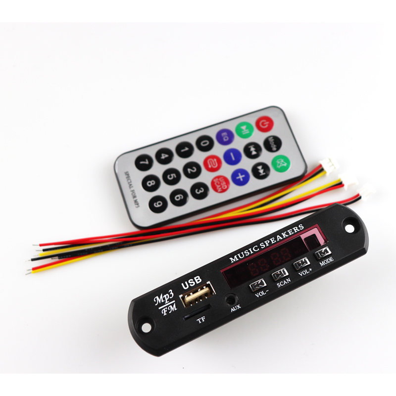 Car MP3 Music Decoder Board DC 5V 12V USB Power Supply TF FM Radio Audio Module AUX Remote Control Car Remote Music Speaker