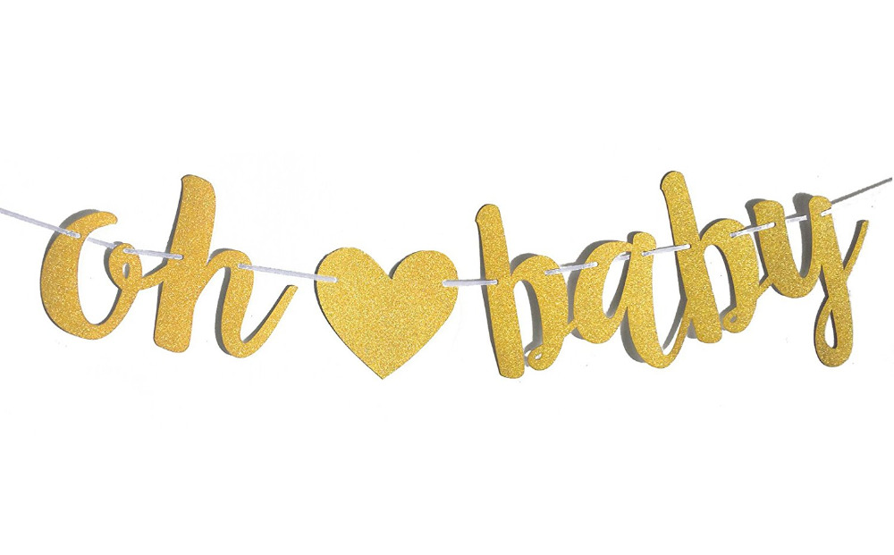 Compre Glitter Gold Oh Baby Banner Baby Shower Género Reveal Party ...