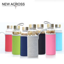 Gohide 1Pcs Large Capacity Fashion Glass Water Bottle Leak Proof Cup With Non-Slip Anti Scald Cloth Cover Customized In Bulk