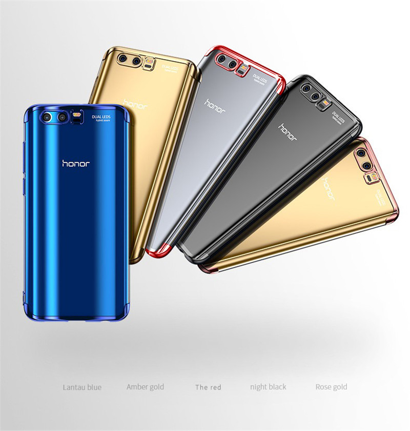 transparent plating soft silicone tpu case cover for huawei honor 9 8 pro  13