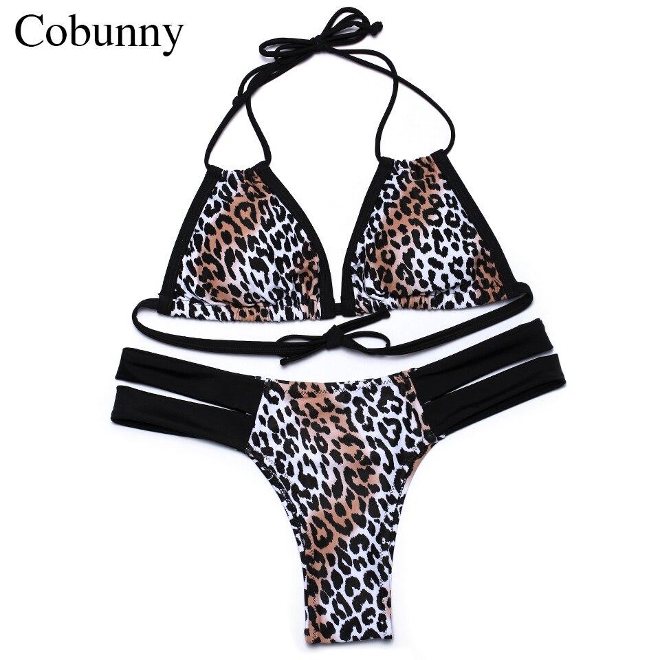 COBUNNY  2017 bikini print swimwear leopard set Brazilian bikini Revovable padded bathing suits women halter swimsuit <br><br>Aliexpress