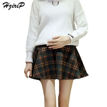 HziriP Maternity Care Belly A-Line Skirts New 2017 Fashion Autumn Winter Woolen Plaid Pregnant Women Short Skirt Plus Size(China)