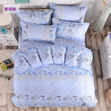 wholesale 4PC bedclothes Blue jacquard pillowcases duvet cover set bed quilt bedlinen Queen King size(China)