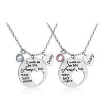 I Used To Be His/Her Angel Now He's/She's Mine Dad/Mom Birth Stone Memorial Necklace,In Memory Of Mothers Father's Day Gift