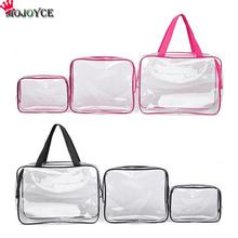 3PCS Transparent Cosmetic Bag PVC Travel Toiletry Bags Makeup Bags Cosmetic Organizer Beautician Bag 3 Size Portable for Travel