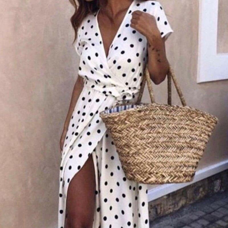 2018 Summer Women Beach Boho Maxi Long Dress Vintage Polka Dot Sexy V Neck Split Femme Casual Party Dresses Short Sleeve Vestido
