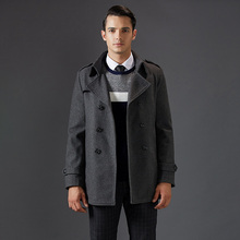 2016 New Thick Turn Down Collar Man Coats Wool Blends Good Quality Long Men's Wool Pea Coat
