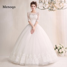 3-02W New Design 2017 Long Wedding Dress Actual Images Lace Half Sleeves Ball Gown Appliques Tulle Wedding Gowns