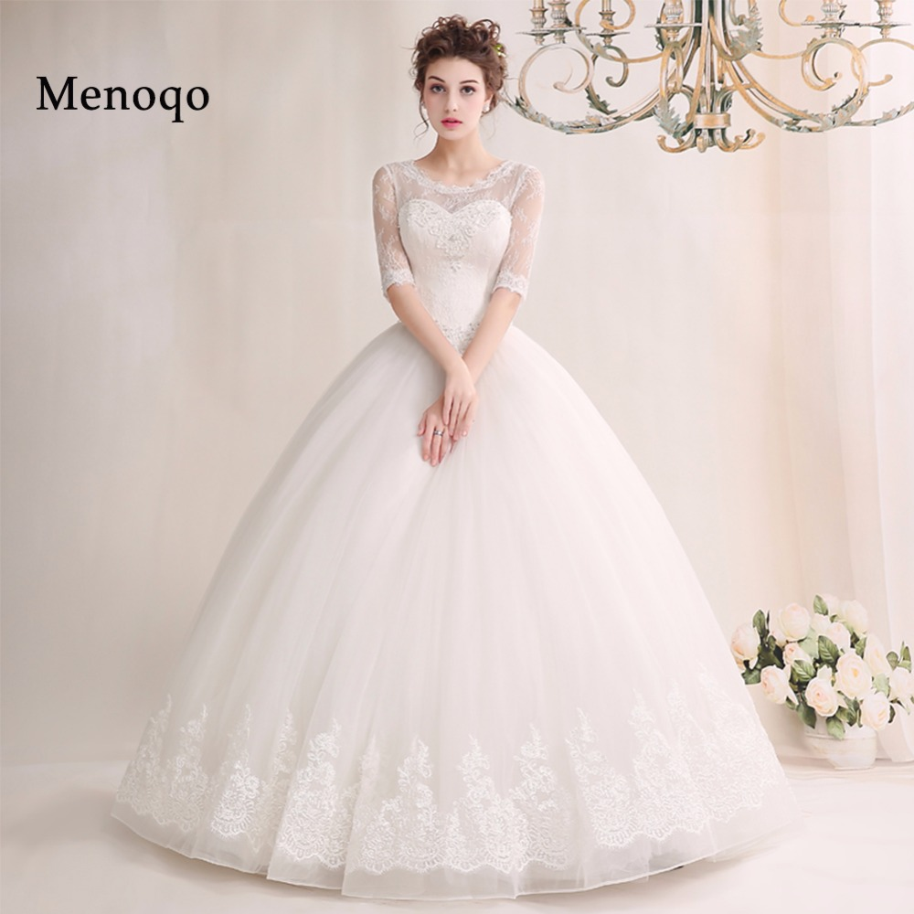 3-02W New Design 2019 Long Wedding Dress Actual Images Lace Half Sleeves Ball Gown Appliques Tulle Wedding Gowns