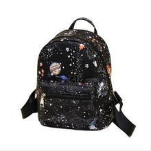 Fashion Star Universe Space Printing Backpack Black School Bags For Teenage Girls Small Backpack Women Leather new bag has logo(China)