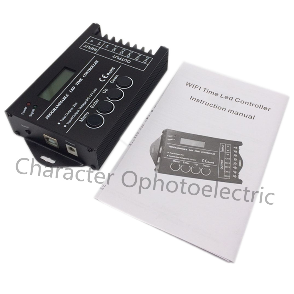 5pcs TC421 WiFi time programmable led controller RGB dimmer rgb lighting timer, DC12~24V input, 5 channels,max 5*4A<br>