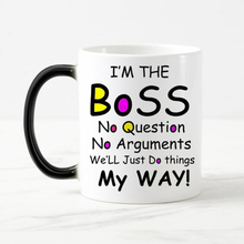 Free shipping Funny words Color Changing Coffee mugs heat sensitive Magic Tea Cup mug gift  I am the boss