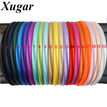 20 pcs/lot 10 mm Width Newly Solid Satin Covered Hairbands For Kids Sweet Girls Hair Accessories
