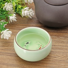 1PC Handmade Color Carp Ceramic Kung Fu Tea Cup Porcelain Drinking Cup Flower Black Tea Cup Chinese Traditional Teacup Home(China)