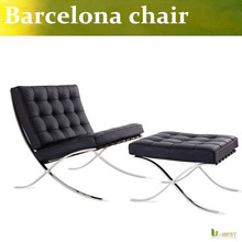 U-BEST high quality Barcelona Style Modern Pavilion Chair with Ottoman ,real leather with Stainless Steel Frame