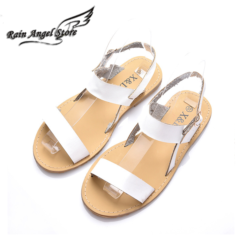 Fish Head Hollow Soft Womens Sandals European And American White Summer Shoes Fashion Flat Sandals Large Size 40<br><br>Aliexpress