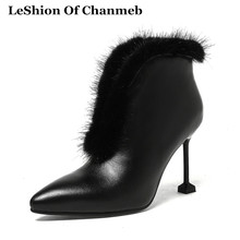 2018 Sexy Warm Natural Fox Fur Lined Boots Women Real Leather Pointed Toe Stiletto Heeled Fetish Boots Lady Dress Booties Winter