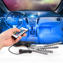 4*Car 36 LED Interior Decoration lighting RGB 16-Color LED Wireless Remote Control 5050 chip 4 In 1 12V Atmosphere Lamp Charge
