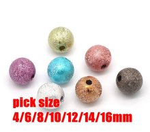 Free Shipping Stardust Beads Acrylic Round Ball Spacer Beads Charms Findings 4/6/8/10/12/14/16MM Pick Size For Jewelry Making