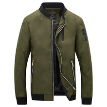 2017 Army Green Men's Jacket Baseball Collar Zipper Pocket Bomber Jacket Men Patch Design Slim Motorcycle Jackets Coats Male